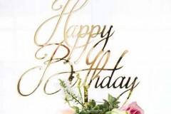 238 - Gold Acrylic Happy Birthday