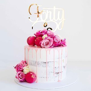 beautiful brithday cake with pink flowers