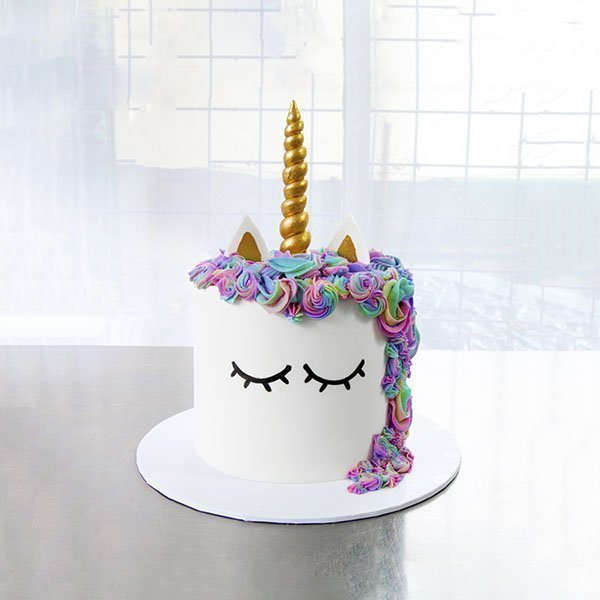 Unicorn cake, white with gold horn and colourful mane